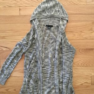 Gray Long Sleeve Cardigan Sweater